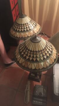 two brown stain glass table lamps Fort Lauderdale, 33308