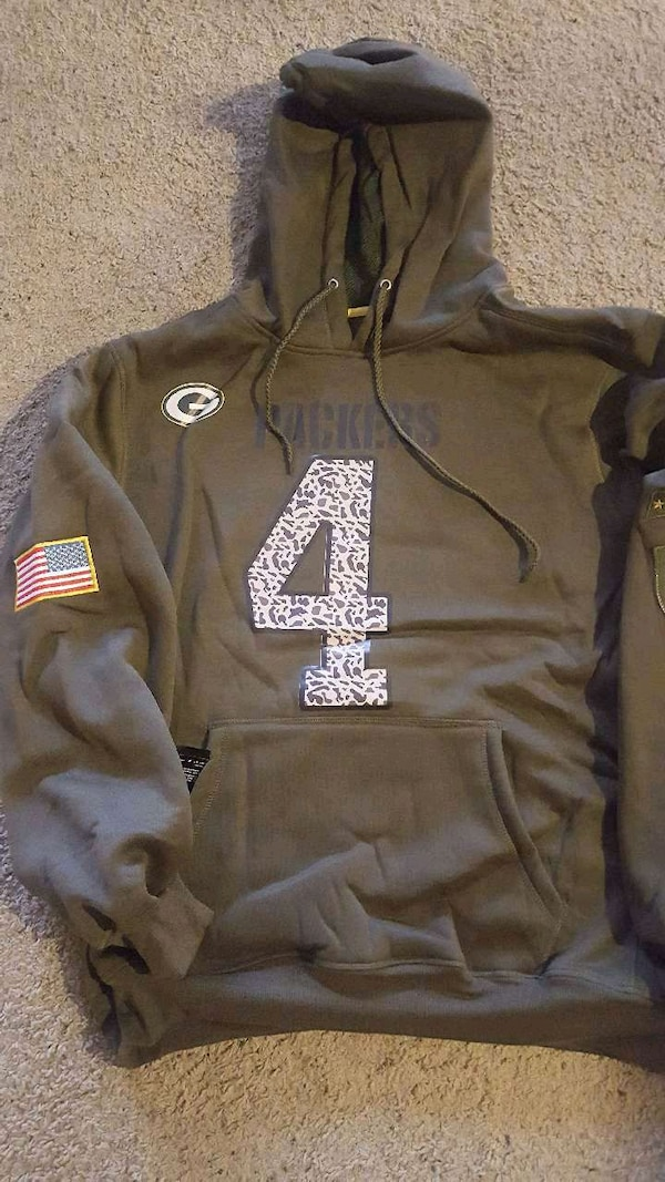 best service b354a a2b04 Packers #4 Favre mens xxl salute to service hoodie