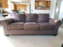 Brown Tan Gray Sofa Couch Recliner Chair