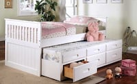 BRAND NEW SOLID WOOD CAPTAINS BED WITH TRUNDLE & 3 DRAWERS TORONTO