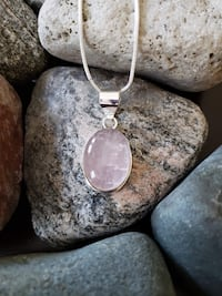 "Natural Rose Quartz Set in 925 Sterling Silver With Chain!  1.9"" Long"
