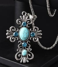 NEW Vintage Style Turquoise Cross Silver Tone Necklace Lubbock