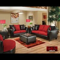 Sofa and Loveseat Red and Black