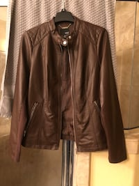 brown leather full-zip jacket