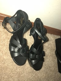 pair of black leather open-toe heeled sandals Kent