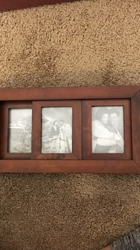 brown wooden collage photo frame