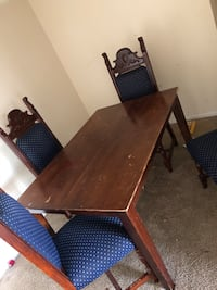 rectangular brown wooden table with six chairs dining set 47 km