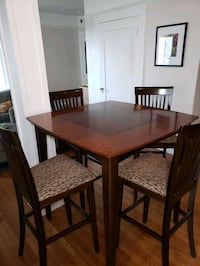 Pub Height Table & Chairs (Espresso Color) W/ Reversible Gaming Board!