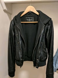 OBEY Vegan Leather Jacket with Hoodie Lining sz S Edmonton, T5H 3S9