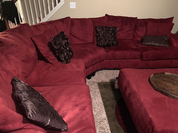 HUGE BRICK RED fabric sectional sofa with throw pillows