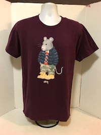 Rare Stussy Rat Mouse Supreme box logo Burgundy T Shirt Sz Medium World Tour 2271 mi