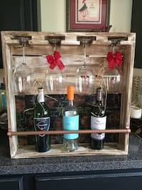 bottle and glass display case