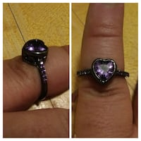 Black titanium-Amethyst heart-sz 7 & 8 Glen Burnie