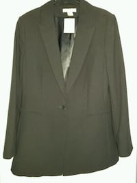 Women's long, black blazer, 1 button, Size 10