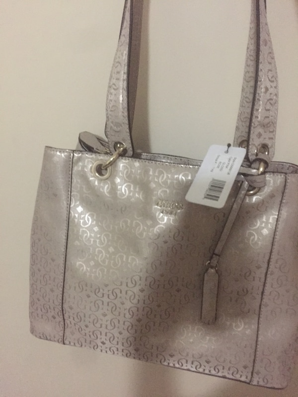 Women's gray leather tote bag