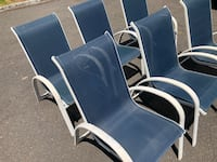 (6) Navy Blue Outdoor Patio Chairs