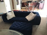 Blue velvet couch and ottoman Hope Mills, 28348