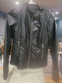 GUESS. black leather jacket.  Chelsea, 02150