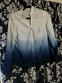 Blue Ombre Button Up Long Sleeved Shirt Valrico, 33596