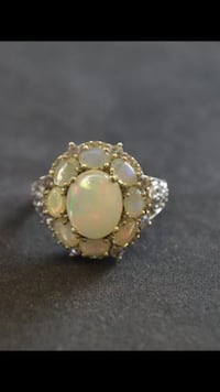 Vintage real opal and sterling silver ring  1466 mi