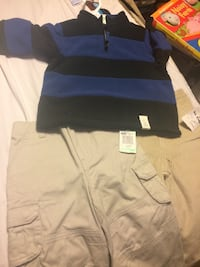 Blue and black half zip sweater and 2 pairs of pants  NTW Huntington, 11731