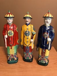 Three assorted color printed ceramic statues Laval, H7W 5L8