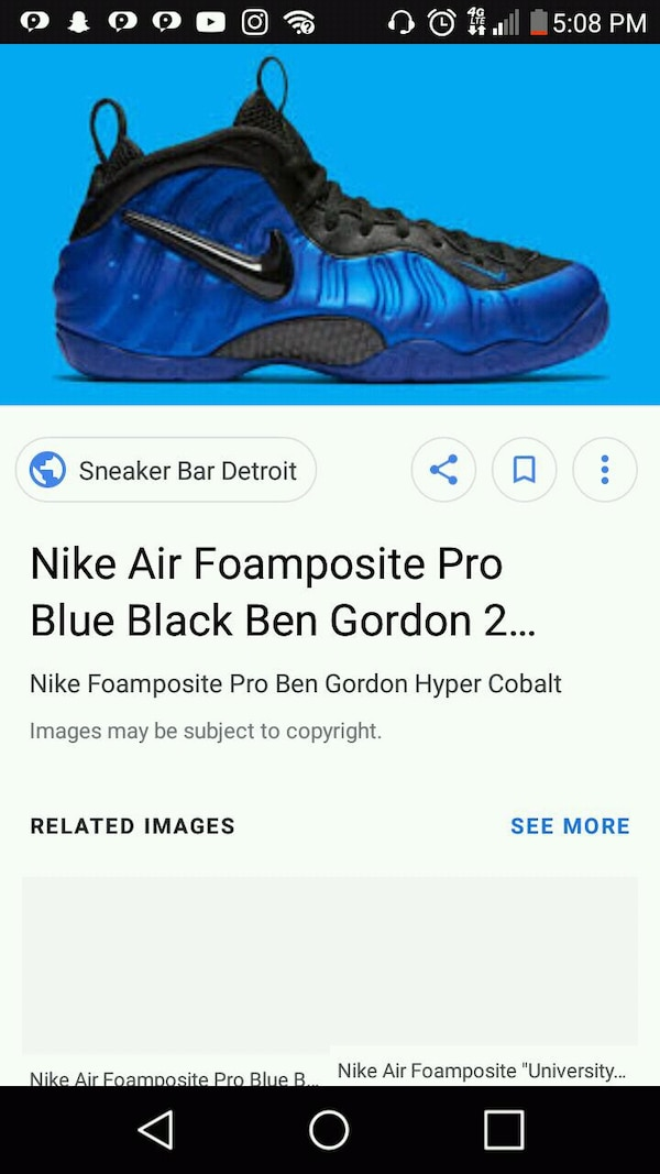 4288dc1fb10c51 Used pair of blue Nike Foamposite One screenshot for sale in Lilburn ...