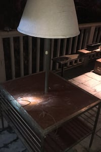 Antique brass side table with built in lamp