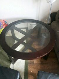 round brown wooden framed glass top table Edmonton, T5H 3Z2