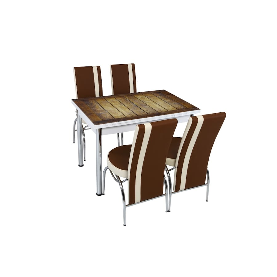 NEW BROWN DELUXE 5 PCS KITCHEN TABLE SET CAN BE EXTENDED