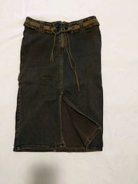 Long denim skirt with front slit fits waist 25-26  Calgary, T2E 0B4