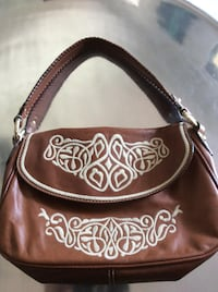 Brown Leather Embroidered Purse Largo