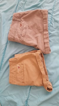 Two brown & grey hollister shorts