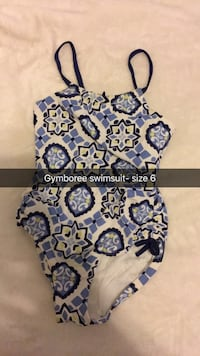 Kids blue, white, and black 1-piece swimsuit