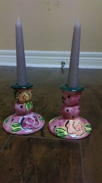 two pink, green, and orange ceramic candle holders ميسيسوجا, L5R 1S3