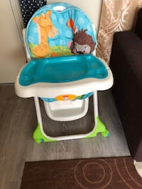 baby's white and blue high chair Vancouver, V6A 3K1