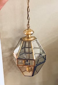 brass and clear glass pendant lamp Vienna, 22180
