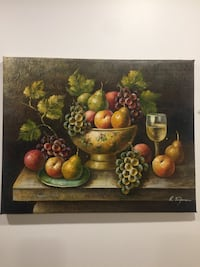 Still life fruits and wine glass- real oil painting Toronto