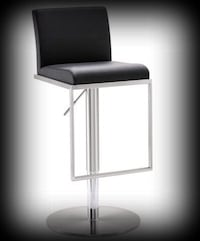 """Amalfi"" Brushed Stainless Steel Gas-Lift Adjustable Height Bar Stool by Tov Furniture Olathe, 66062"