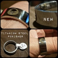 Stainless steel Punisher men's ring size 11