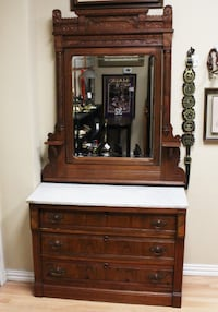 Antique Eastlake Marble Top Walnut Dresser w/Mirror and Candle Shelves Flower Mound