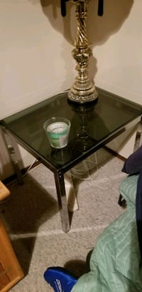 black tinted glass table.
