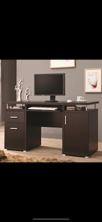 Cappuccino desk with chrome detail  Bellair, 32073