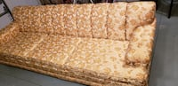 brown and white floral fabric 3-seat sofa MONTREAL
