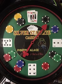 round green and red Silver starlite poker table clock