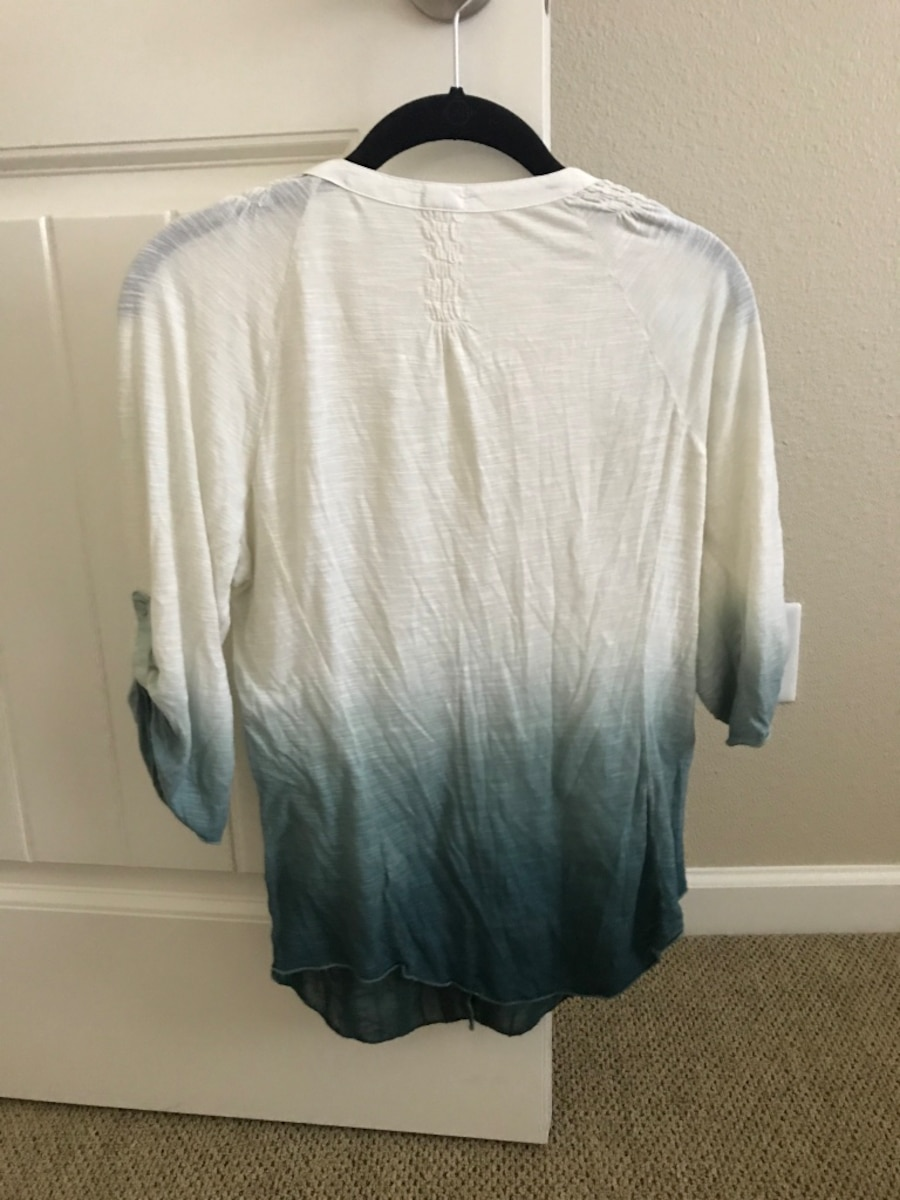 white and gray ombre button-up long-sleeved shirt - CA