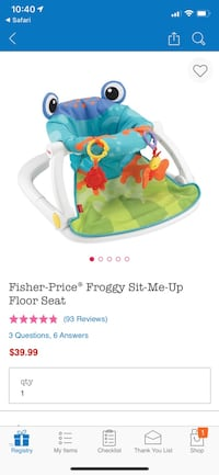 Fisher price froggy sit me up chair floor seat Washington, 20007