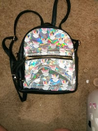 black, pink, and green floral backpack Bloomington