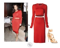 PARTY RED CROP TOP DRESS AND PENCIL SKIRT