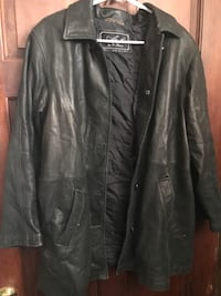 black leather button-up jacket